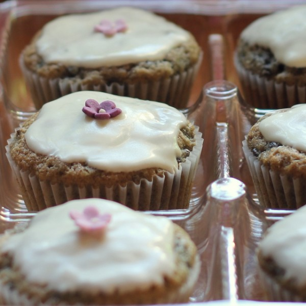White Chocolate topped, purple carrot cupcakes