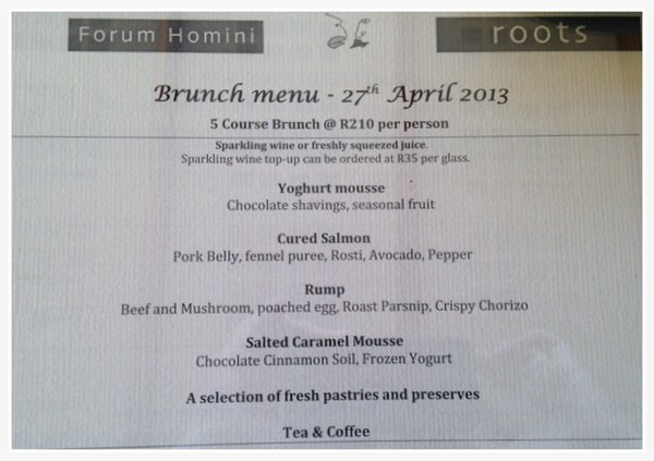 Roots Restaurant Brunch Menu