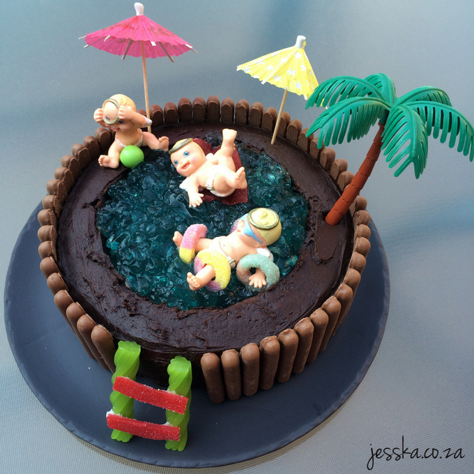 Australian womens weekly swimming pool cake for Swimming pool birthday cake pictures